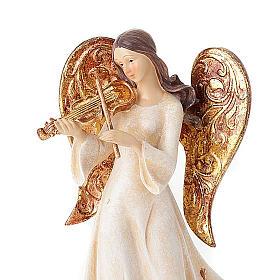 Statuine Tre Angeli con strumenti bianco e dorato s2