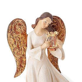 Statuine Tre Angeli con strumenti bianco e dorato s5