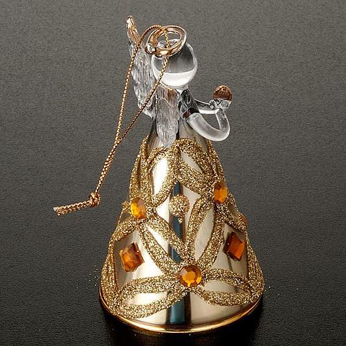 Angelo vetro con glitter e strass addobbo di Natale 5