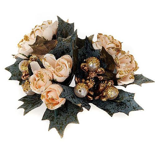 Anneau pour bougies roses et baies 2