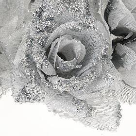 Girocandela rose glitter argentato addobbo Natale s3