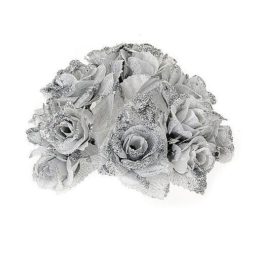 Girocandela rose glitter argentato addobbo Natale 1