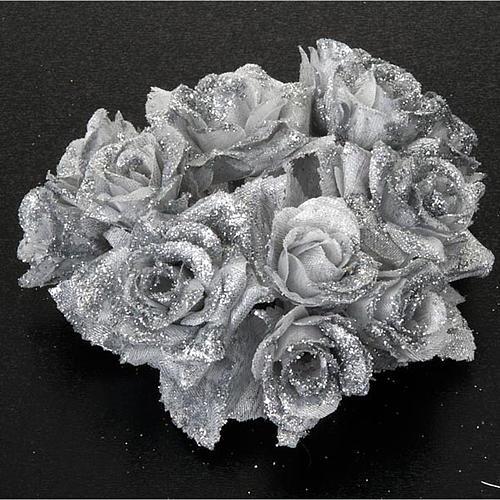 Girocandela rose glitter argentato addobbo Natale 2