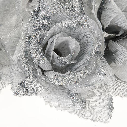 Girocandela rose glitter argentato addobbo Natale 3
