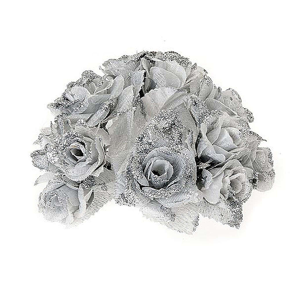 Christmas decoration candle holder ring roses silvery glitter 3
