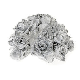Christmas decoration candle holder ring roses silvery glitter s1
