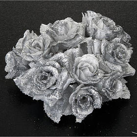 Christmas decoration candle holder ring roses silvery glitter s2