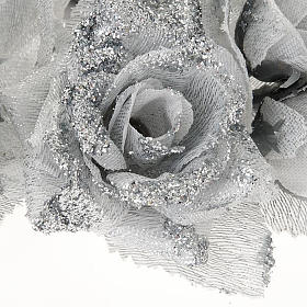 Christmas decoration candle holder ring roses silvery glitter s3