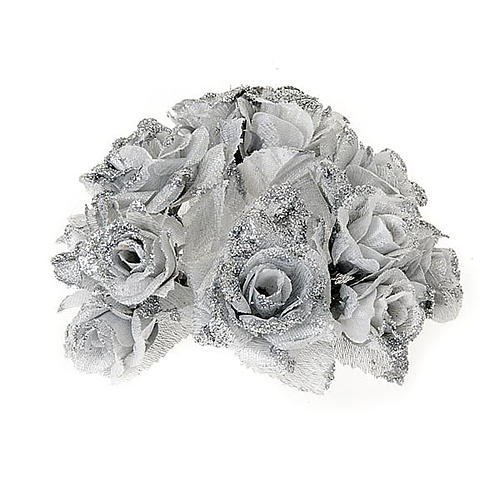 Christmas decoration candle holder ring roses silvery glitter 1