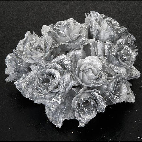Christmas decoration candle holder ring roses silvery glitter 2