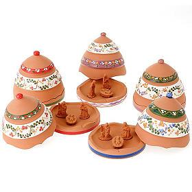 Crèches de Noël terre cuite Deruta: Clochette pomme de pin Nativité terre cuite