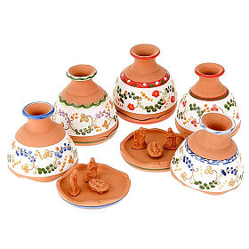 Terracotta Nativity Scene figurines from Deruta: Nativity set terracotta jar-bell