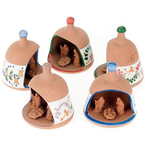 Glocke-Hütte aus Terrakotta mit Geburtsszene 1