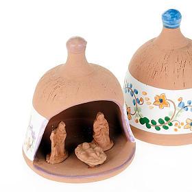 Capanna in terracotta Natività campanella s3
