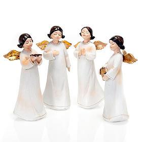 Statuette angeli 4 pezzi 13 cm addobbi natalizi s1