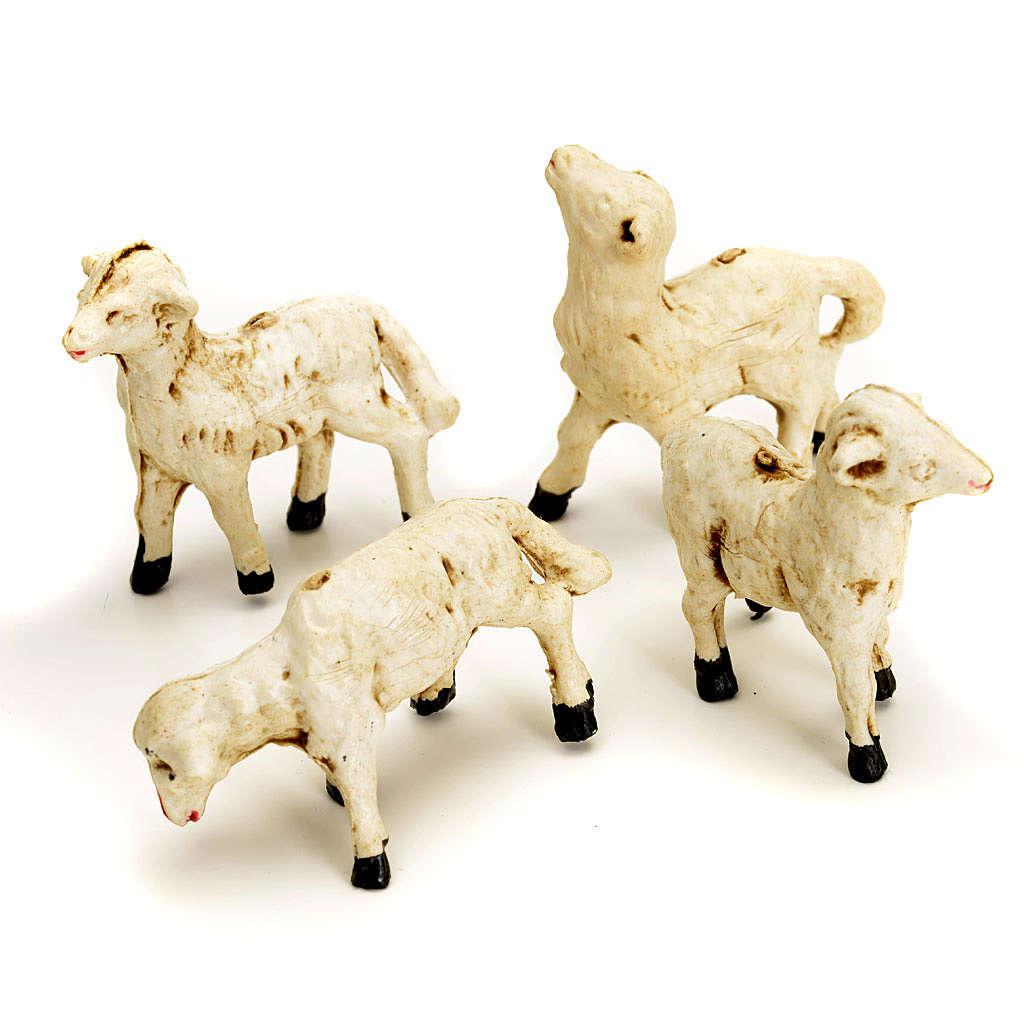 Pecorelle presepe set 4 pezzi 8 cm 3