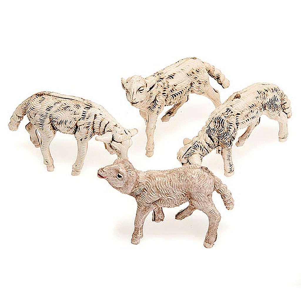 Pecorelle presepe set 4 pezzi 12 cm 3