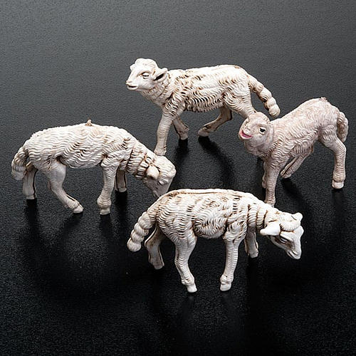 Pecorelle presepe set 4 pezzi 12 cm 2