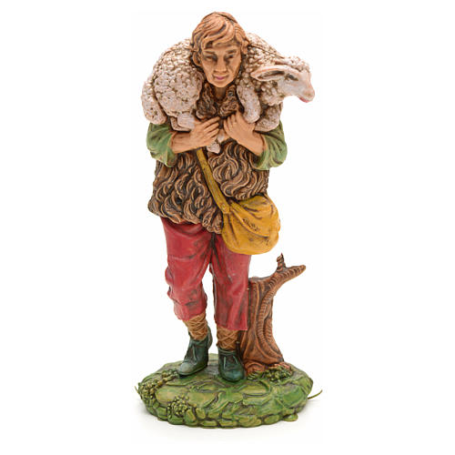 Nativity set accessory, Shepherd with sheep on his shoulder 1