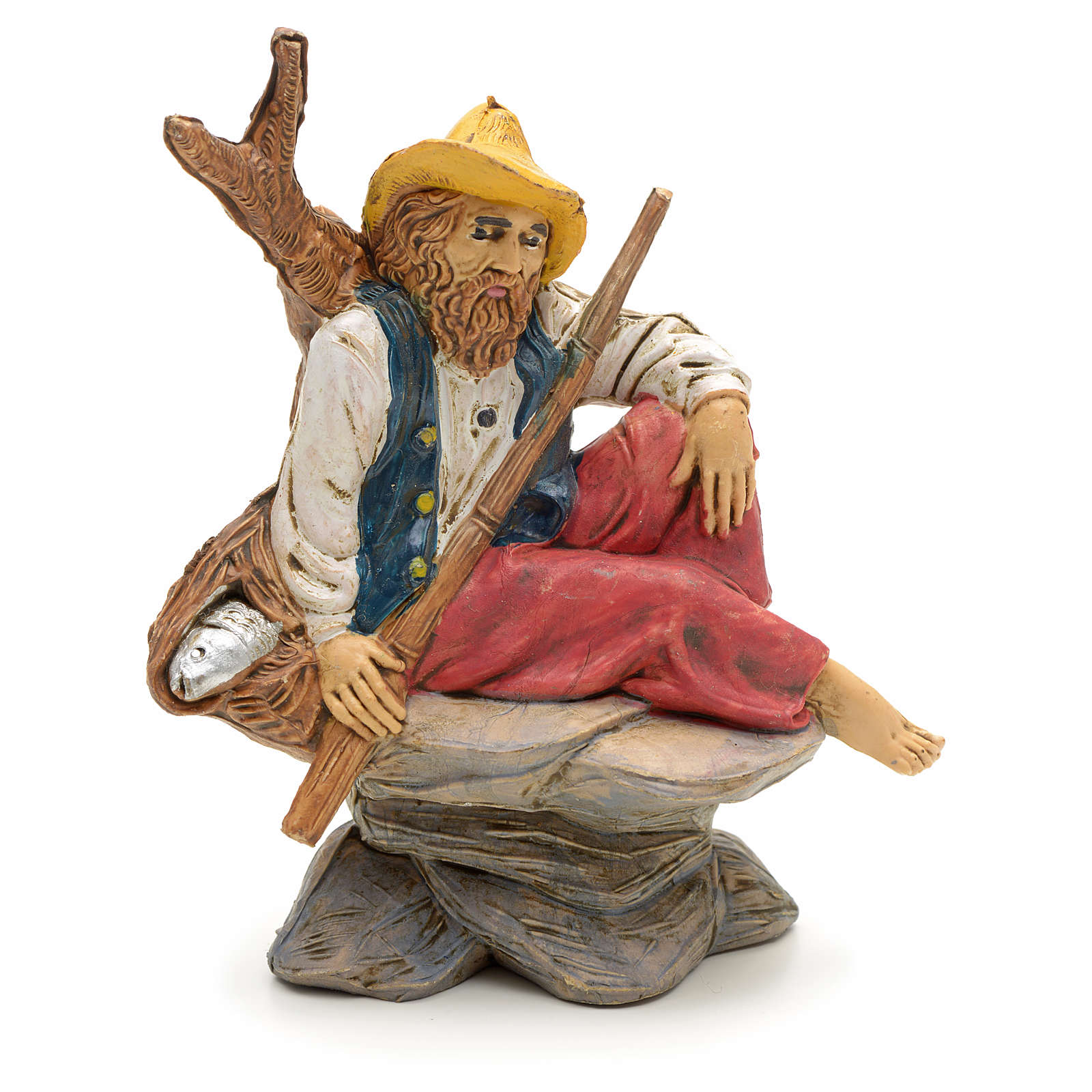 Nativity set accessory, Fisherman sitting figurine 3