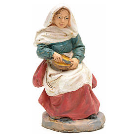 Nativity set accessory, Woman sitting with pan figurine s1