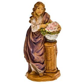Donna con fiori su colonna 10 cm s1