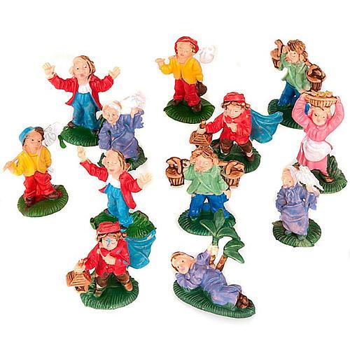 Pastori presepe vari personaggi colorati 12 pz. 3 cm 1