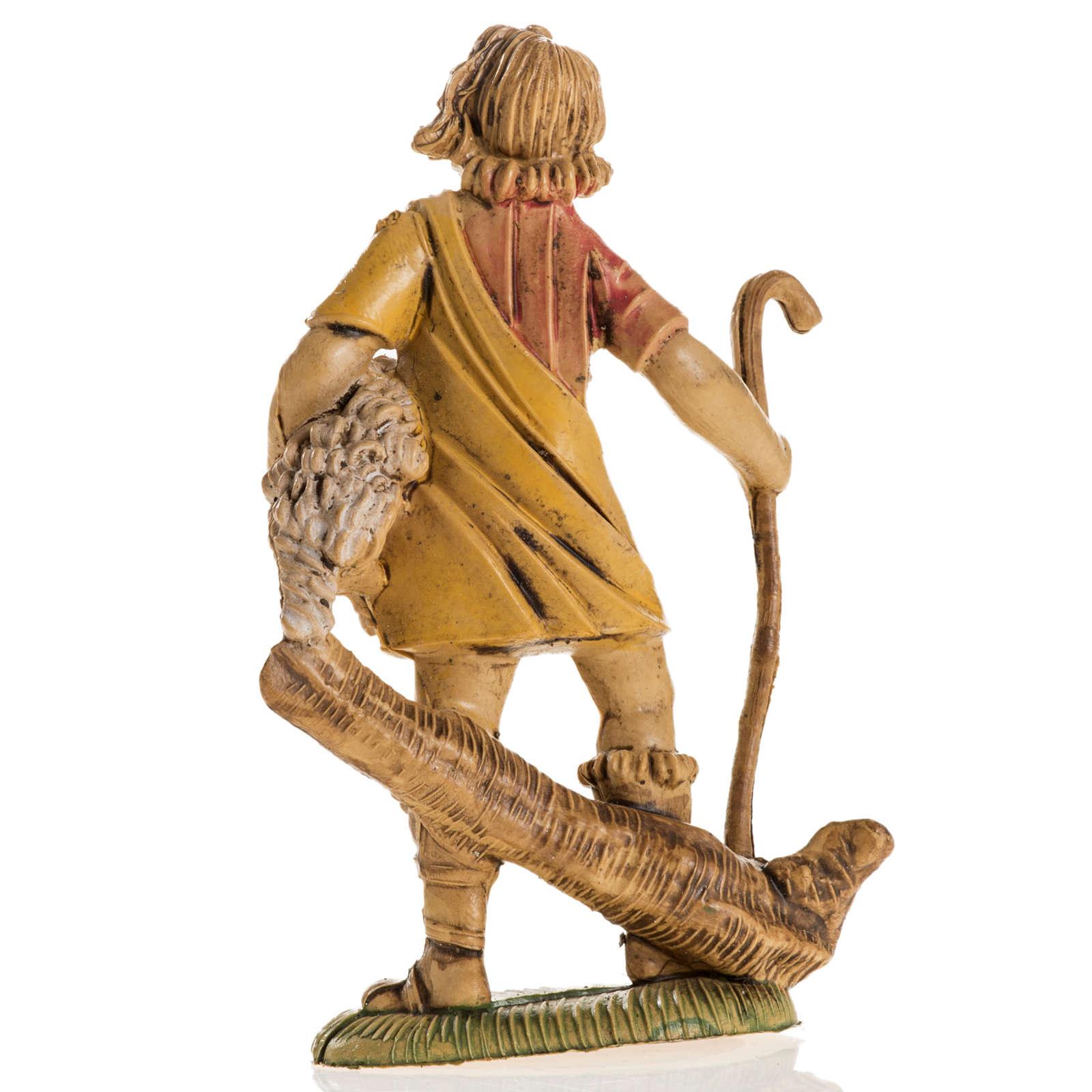 Nativity scene figurine, shepherd with lamb 8cm 3