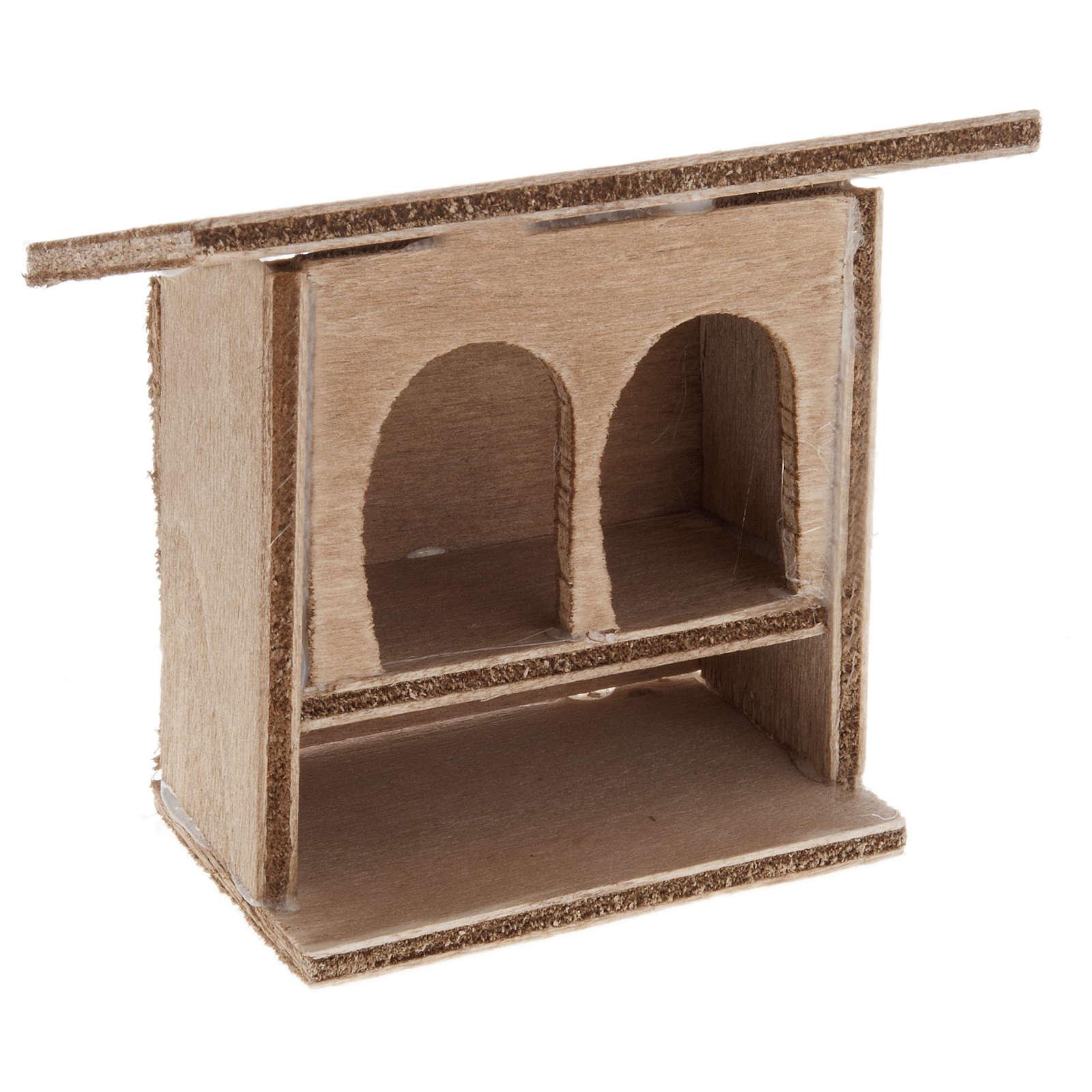 STOCK Conigliera doppia presepe in legno 8-10 cm 3
