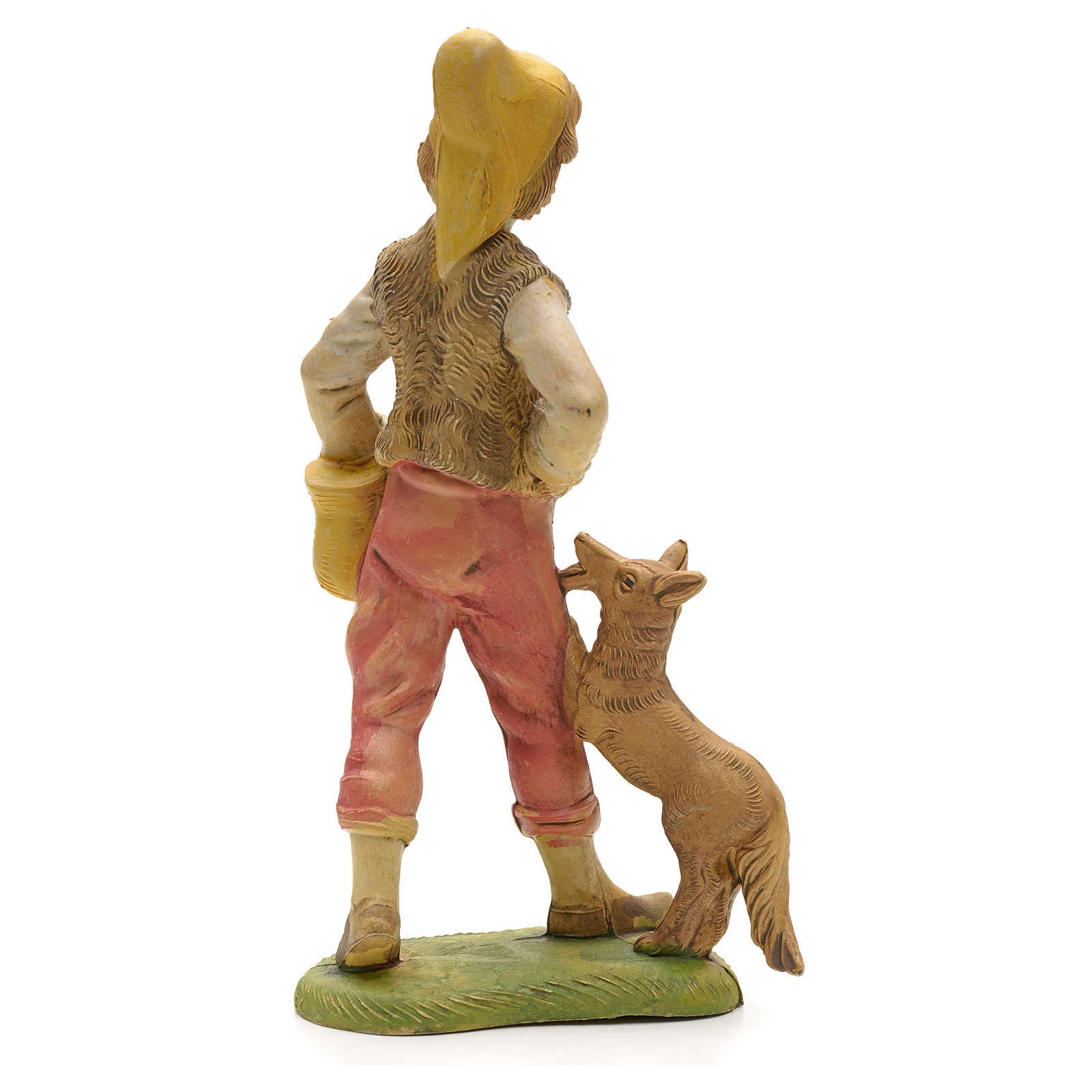 Pastore con cane e cesto 18 cm 3