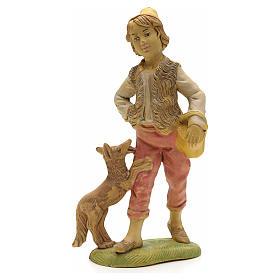 Pastore con cane e cesto 18 cm s1