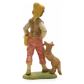 Pastore con cane e cesto 18 cm s2
