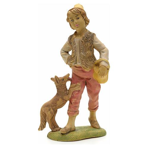 Pastore con cane e cesto 18 cm 1