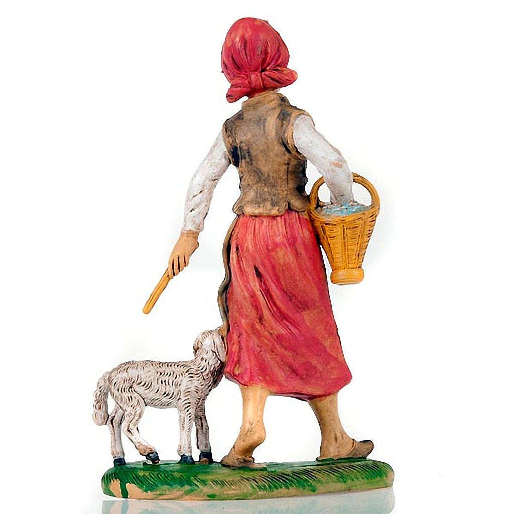 Pastorella con pecora e cesto 18 cm 3
