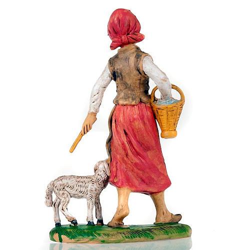 Pastorella con pecora e cesto 18 cm 2