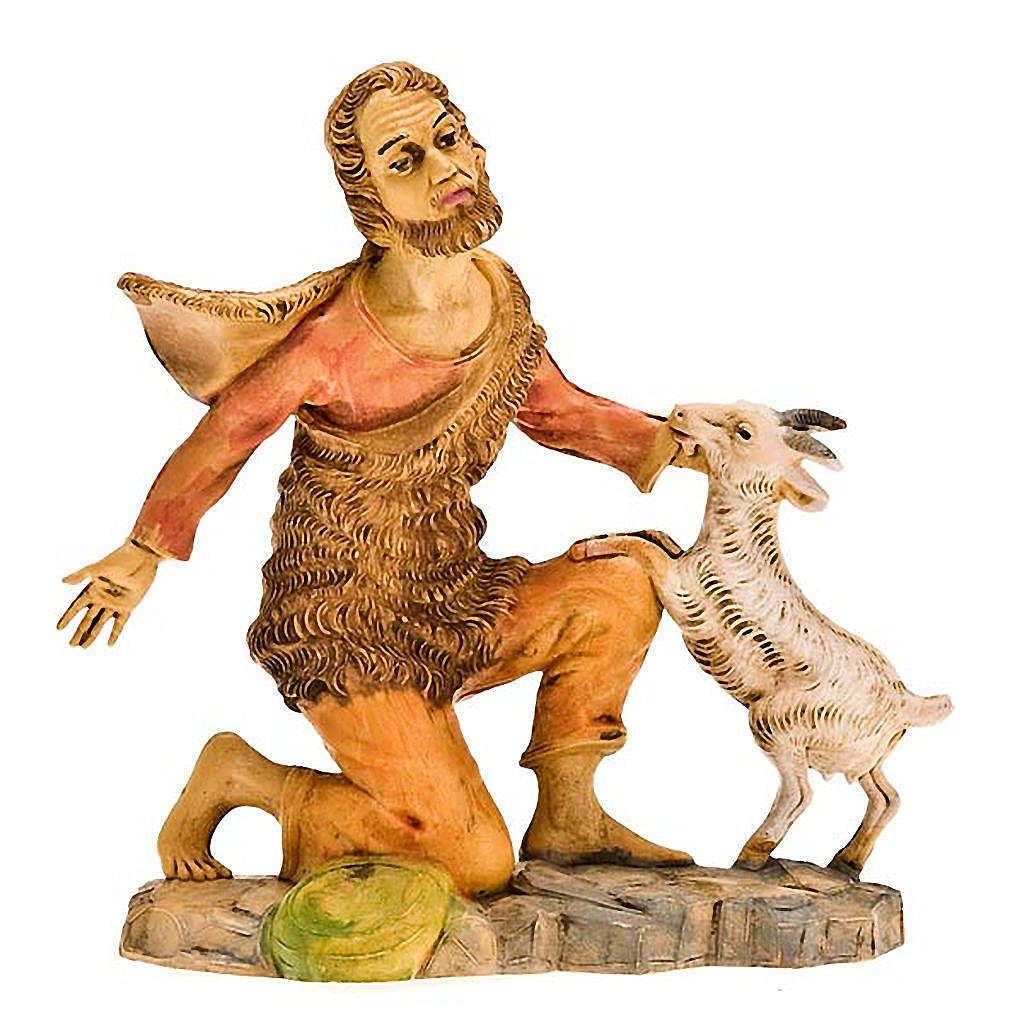 Pastore inginocchiato con pecorella 18 cm 3