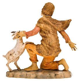 Pastore inginocchiato con pecorella 18 cm s2