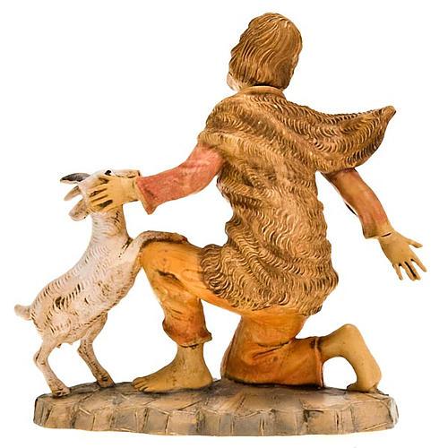 Pastore inginocchiato con pecorella 18 cm 2
