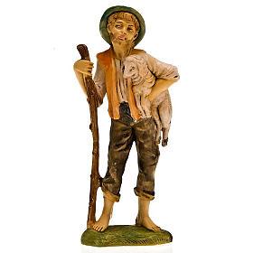 Pastore con pecora in braccio e bastone 18 cm s1