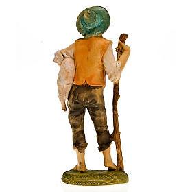 Pastore con pecora in braccio e bastone 18 cm s2