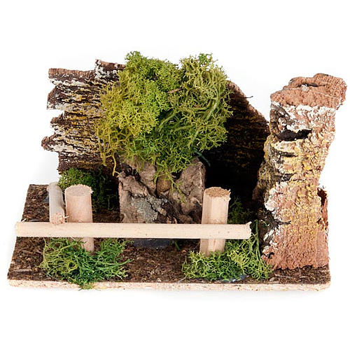 Nativity set accessory, fence and tree diorama 1