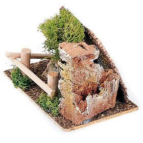 Milieu crèche Noël arbre et palissade s2
