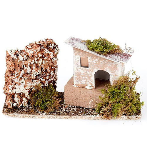 Nativity set accessory, House and cork wall setting 1