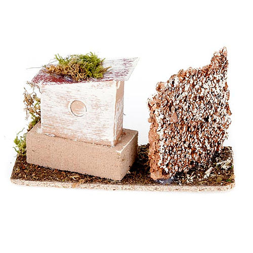 Nativity set accessory, House and cork wall setting 2