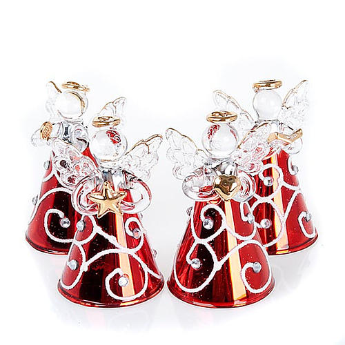 Angioletti vetro veste rossa set 4 pz. addobbi Natale 1