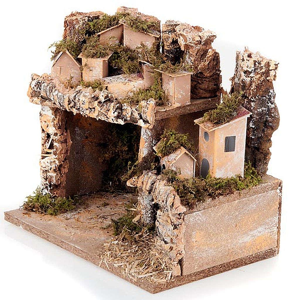 Paesaggio presepe con casette e grotta 24X16X21 4