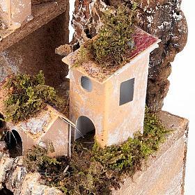 Paesaggio presepe con casette e grotta 24X16X21 s4