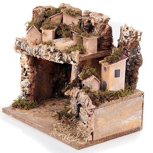 Paesaggio presepe con casette e grotta 24X16X21 2