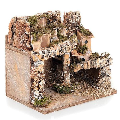 Paesaggio presepe con casette e grotta 24X16X21 3