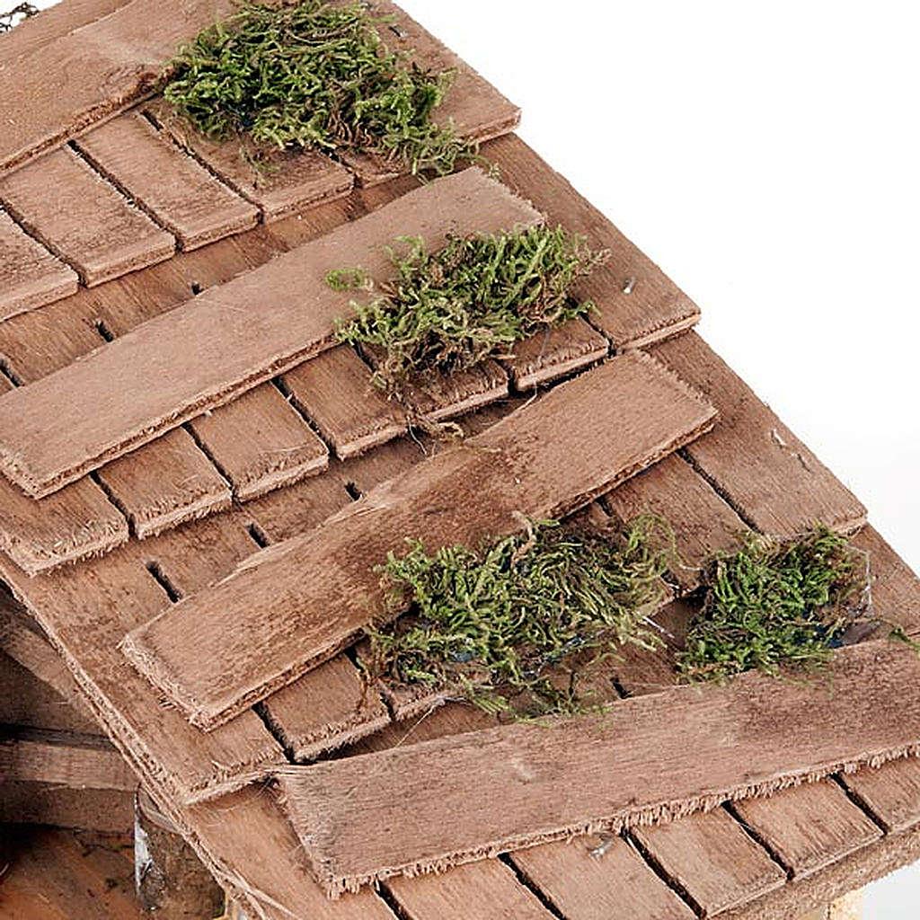 Capanna presepe muro intonacato e attrezzi lavoro 35X20X24 4